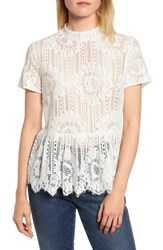 Everleigh Short Sleeve Lace Top Ivory