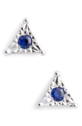 Dana Rebecca Designs Emily Sarah Sapphire Triangle Stud Earrings White Gold Blue Sapphire