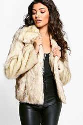 Boohoo Jasmine Vintage Faux Fur Coat Cream