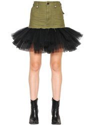 Unravel Military Cotton Skirt With Tulle Hem