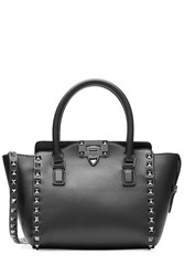 Valentino Rockstud Noir Mini Leather Tote With Shoulder Strap Black