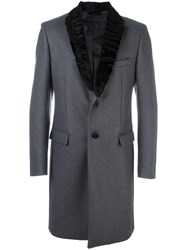 Fendi Lambs Fur Collar Coat Grey