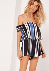 Missguided Striped Bardot Playsuit Cobalt Blue Blue