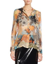 Dries Van Noten Calfier Floral Print Chiffon Blouse Light Blue