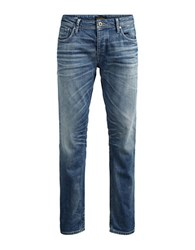 Jack And Jones Whiskered Slim Fit Jeans Blue Denim