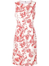 Oscar De La Renta Floral Print Dress White