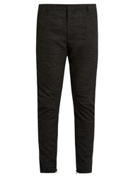 Lanvin Flecked Wool Blend Biker Trousers Black