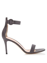 Gianvito Rossi Portofino Suede Sandals Grey