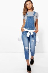 Boohoo Emily Mid Blue Distressed 3 4 Dungaree Mid Blue
