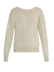Nili Lotan Jolie V Back Cashmere Sweater Light Grey