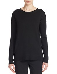 Lord And Taylor Merino Wool Hi Lo Crewneck Sweater Black