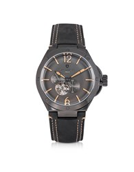 Lancaster Men's Watches Space Shuttle Meccanico Gunmetal Stainless Steel And Black Nubuck Men's Watch