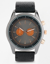 Asos Watch With Mixed Metal Finish Black