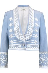 Temperley London Voyage Embroidered Cotton Corduroy Jacket Sky Blue