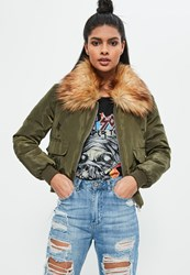 Missguided Khaki Faux Fur Collar Utility Bomber