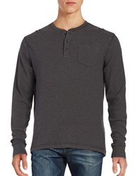 Tailor Vintage Long Sleeve Henley Tee Charcoal