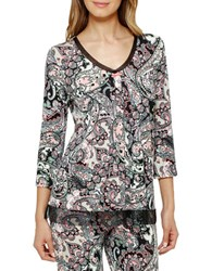 Ellen Tracy Paisley Print Three Quarter Sleeve Top Ivory Black