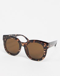 Jeepers Peepers Oversized Round Sunglasses In Tort Brown