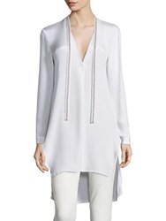 Halston Embellished Tie Neck Tunic Chalk