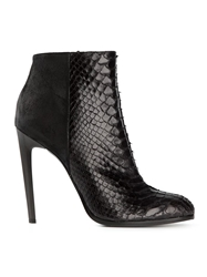 Haider Ackermann Snakeskin Panel Ankle Boots Black
