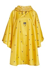 Joules Right As Rain Print Packable Hooded Poncho Gold Botanical Bees