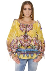 Roberto Cavalli Ruffled Floral Printed Cotton Gauze Top