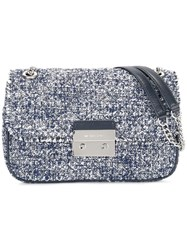 Michael Michael Kors Tweed Crossbody Bag Blue