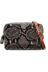 Anya Hindmarch Double Zip Tasseled Python Effect Leather Shoulder Bag Gray