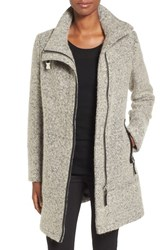 Calvin Klein Women's Wool Blend Boucle Walking Jacket Tin Black