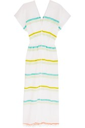 Lemlem Kedame Striped Embroidered Cotton Blend Gauze Midi Dress Yellow