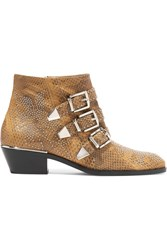 Chloe Susanna Studded Watersnake Ankle Boots Sand
