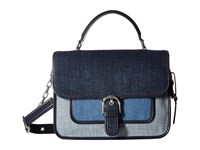 Michael Michael Kors Cooper Large School Satchel Indigo Light Denim Washed Denim Satchel Handbags Blue