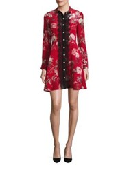 The Kooples Moulin Rouge Printed Silk Shirt Dress Red