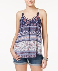 Jolt Juniors' Crocheted Multi Print Tank Top Knockout Navy