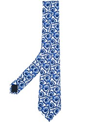 Versace Painted Baroque Tie Blue