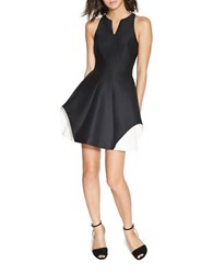 Halston Splitneck Colorblock Sleeveless Fit And Flare Dress Black White