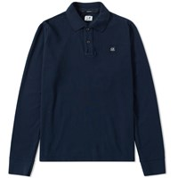 C.P. Company Long Sleeve Pique Polo Blue