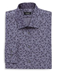 Sand Cotton Printed Dress Shirt Blue