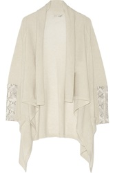 Autumn Cashmere Draped Cashmere And Snake Effect Leather Cardigan White