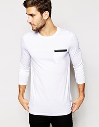 Asos Longline Long Sleeve T Shirt With Faux Leather Zip Pocket White