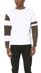 Marni Oversized Long Sleeve Tee With Contrast Patches Military White