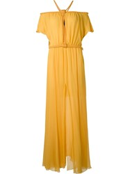 Jay Ahr Rope Detail Evening Dress Yellow And Orange