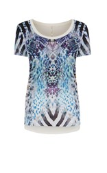 Karen Millen Graphic Snakeskin T Shirt Blue Multi