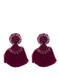 Etro Crystal Embellished Fringed Clip On Earrings Pink