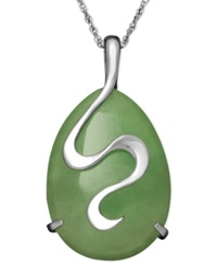 Macy's Sterling Silver Necklace Jade Oval Snake Pendant