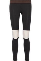 Olympia Activewear Moto Striped Stretch Jersey Leggings Black