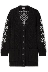 Red Valentino Redvalentino Embroidered Cable Knit Wool Cardigan Black