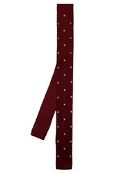 Lanvin Polka Dot Embroidered Knitted Silk Tie Burgundy