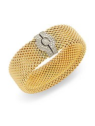 Meshmerise Holiday Diamond And 18K Yellow Gold Plated Sterling Silver Bracelet