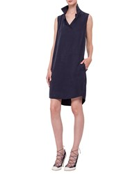 Akris Punto Sleeveless Polo Shift Dress Navy Size 2